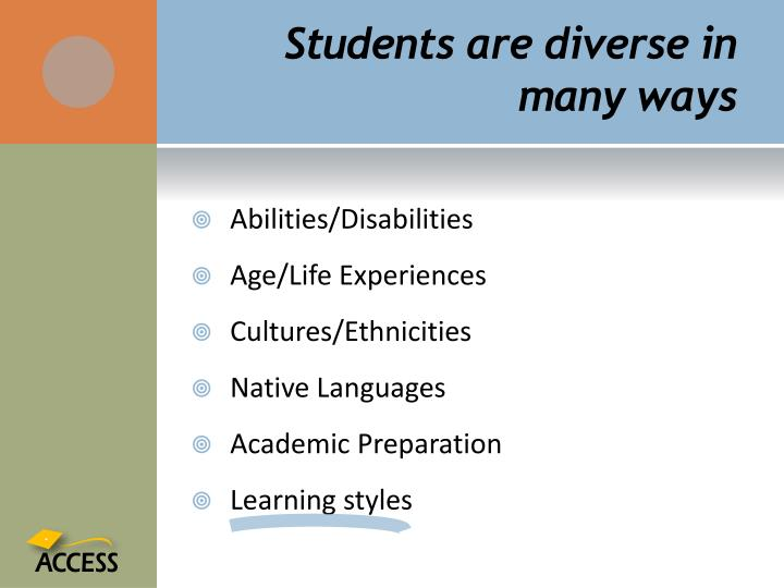 Students are diverse in many ways