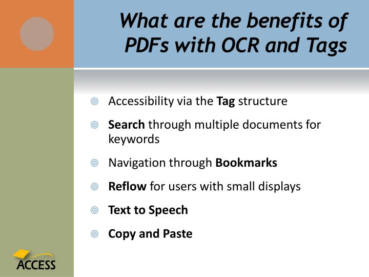 What are the benefits of PDFs with OCR and Tags