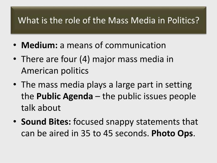 What is the role of the Mass Media in Politics?