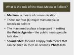 what is the role of the mass media in politics