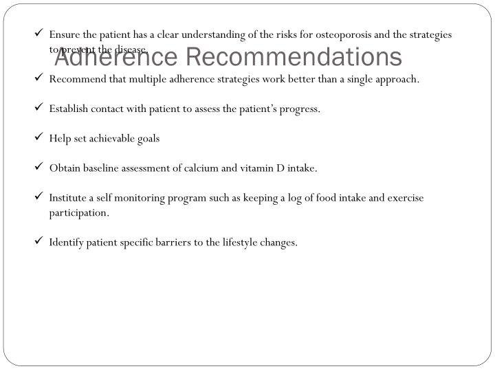 Adherence Recommendations