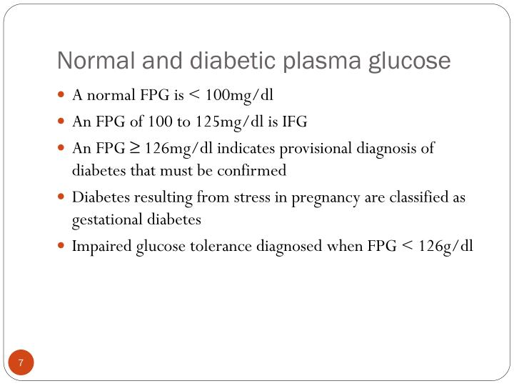 Normal and diabetic plasma glucose
