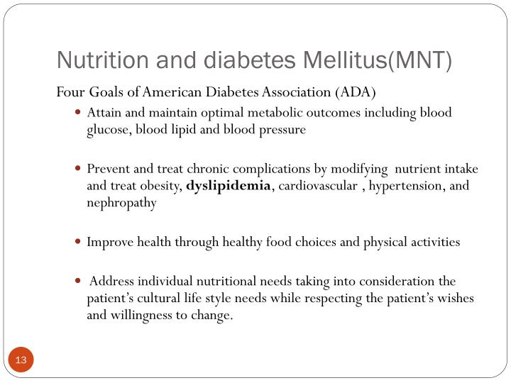 Nutrition and diabetes Mellitus(MNT)