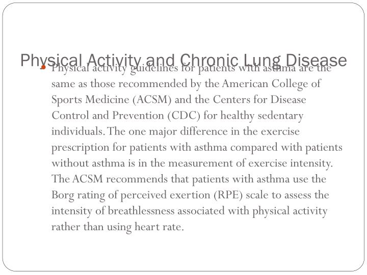 Physical Activity and Chronic Lung Disease