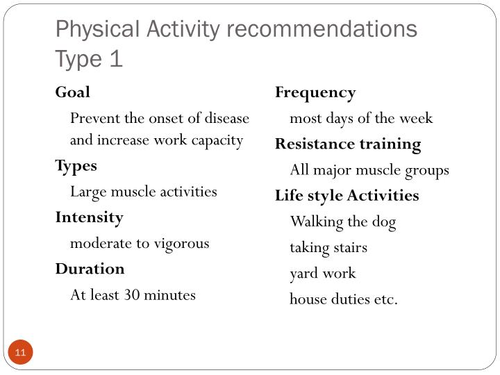 Physical Activity recommendations Type 1