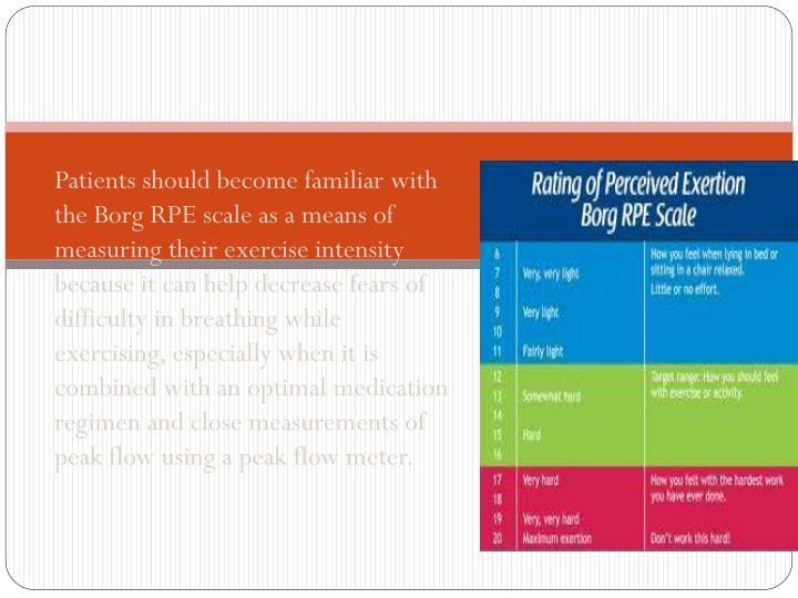Patients should become familiar with the Borg RPE scale as a means of measuring their exercise intensity because it can help decrease fears of difficulty in breathing while exercising, especially when it is combined with an optimal medication regimen and close measurements of peak flow using a peak flow meter.