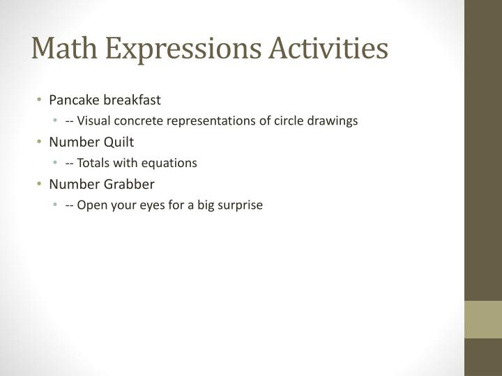 Math Expressions Activities