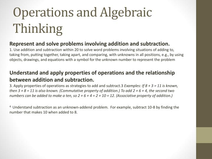Operations and Algebraic