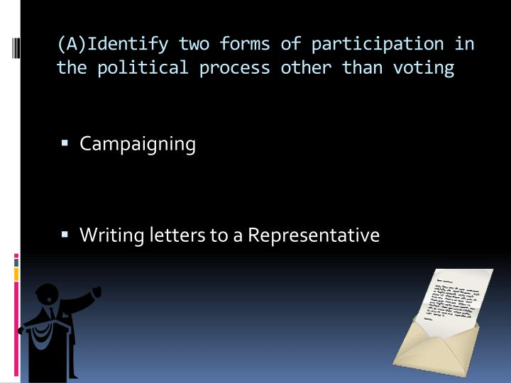 A identify two forms of participation in the political process other than voting