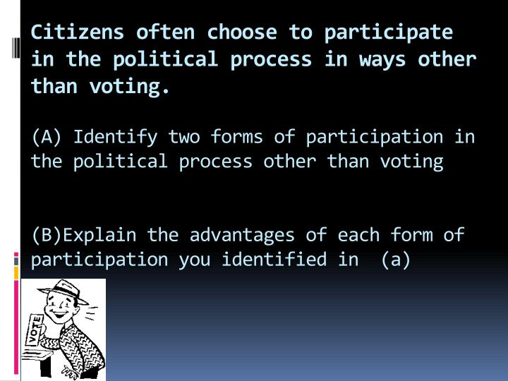 Citizens often choose to participate in the political process in ways other than voting.