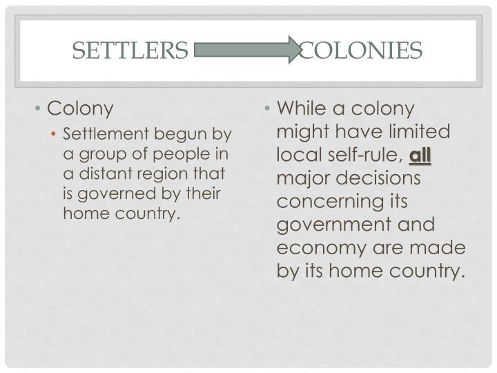 Settlers                  Colonies