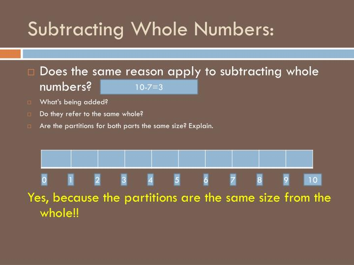 Subtracting Whole Numbers: