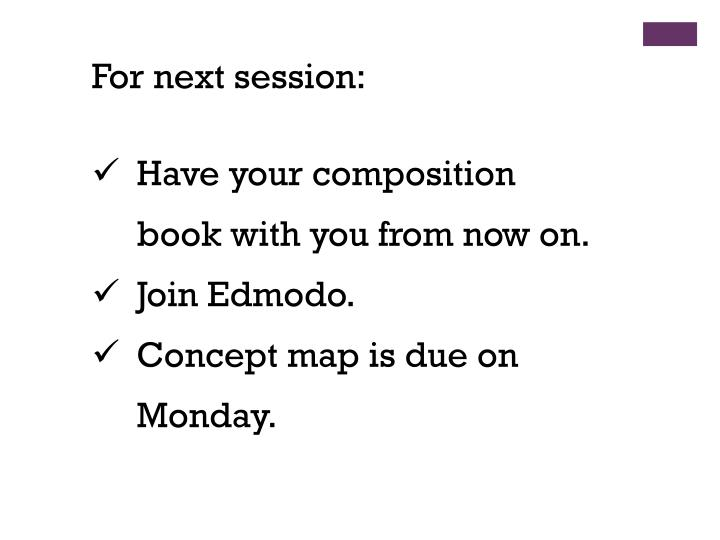 For next session: