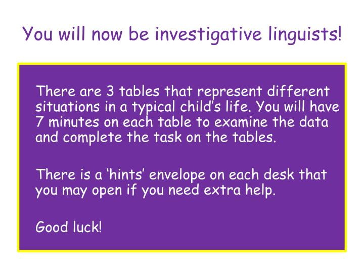 You will now be investigative linguists!