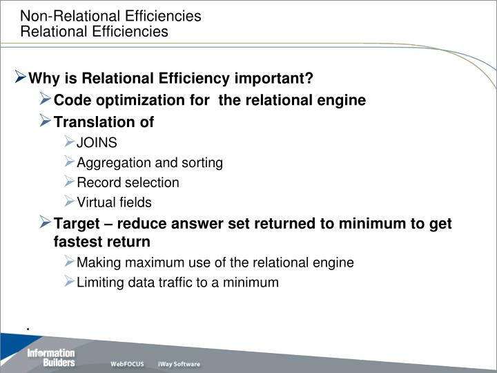 Non relational efficiencies relational efficiencies