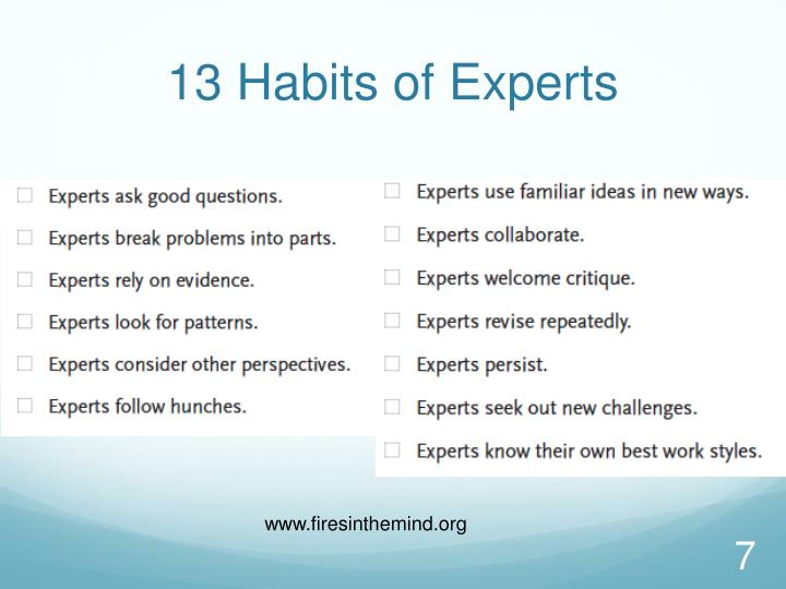 13 Habits of Experts
