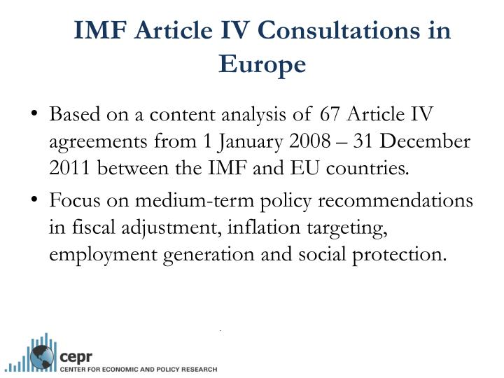 IMF Article IV Consultations in Europe