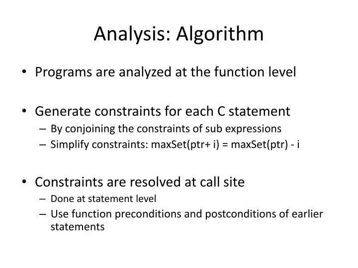 Analysis: Algorithm