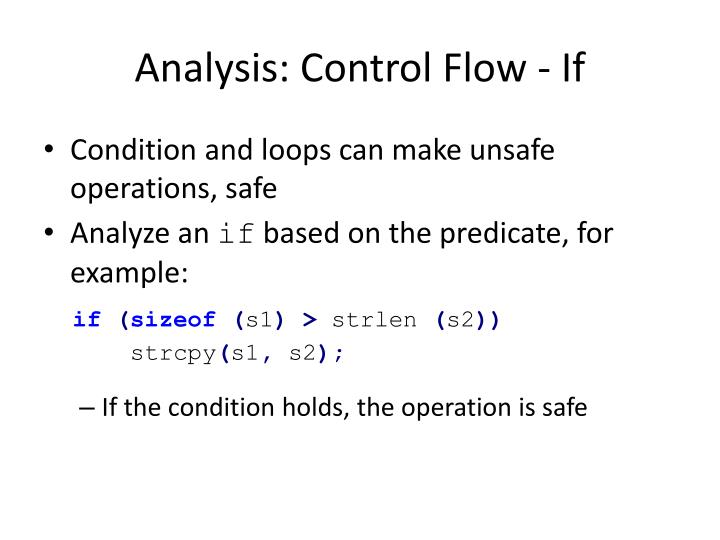 Analysis: Control Flow - If