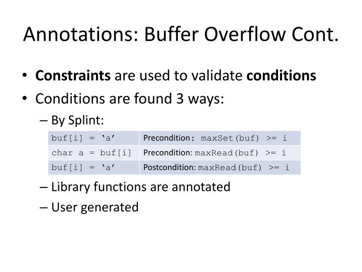 Annotations: Buffer Overflow Cont.