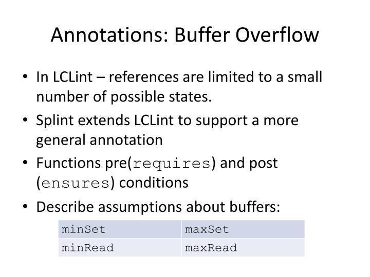 Annotations: Buffer Overflow