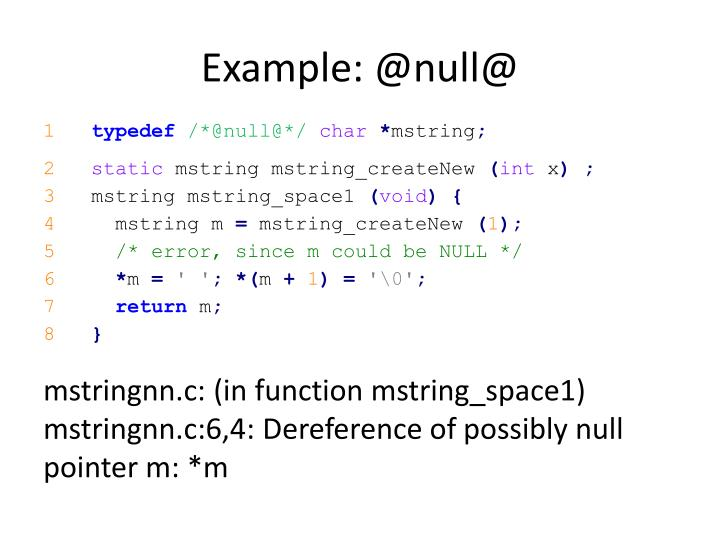 Example: @null@