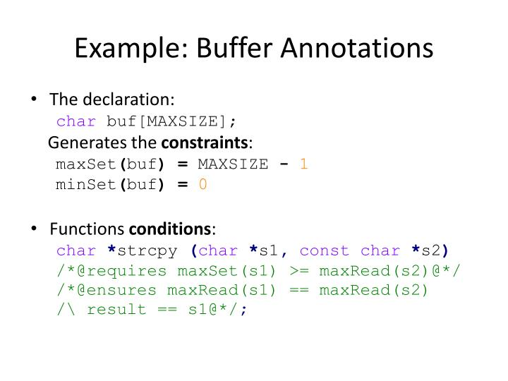 Example: Buffer Annotations