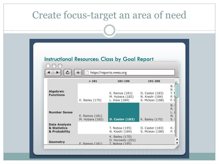 Create focus-target an area of need