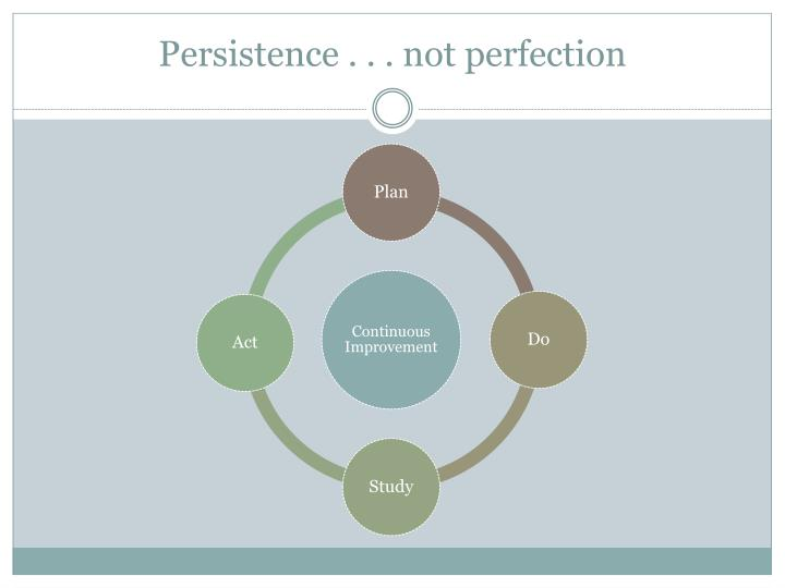 Persistence . . . not perfection