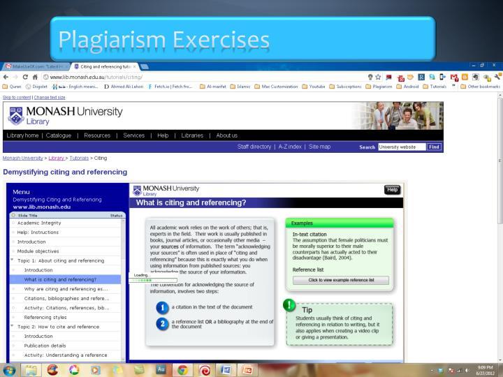 Plagiarism Exercises