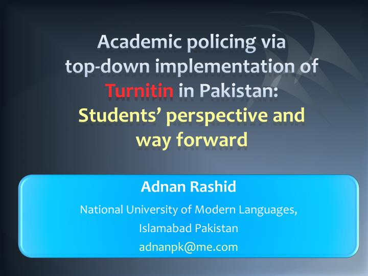 Academic policing via