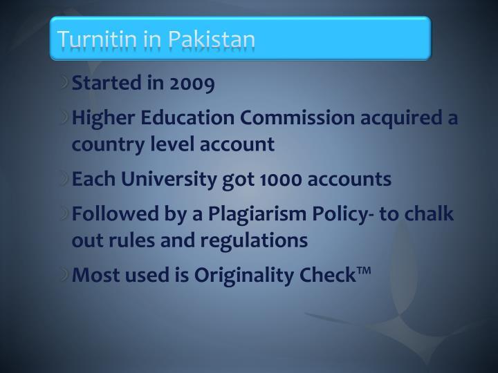 Turnitin in Pakistan
