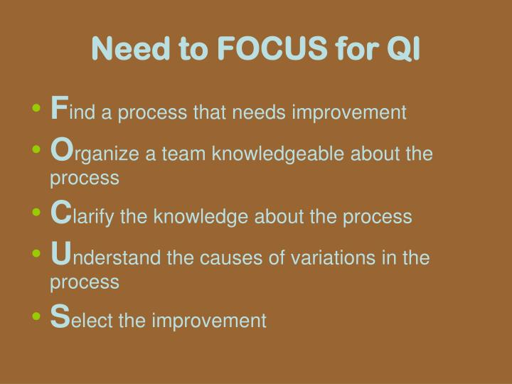 Need to FOCUS for QI