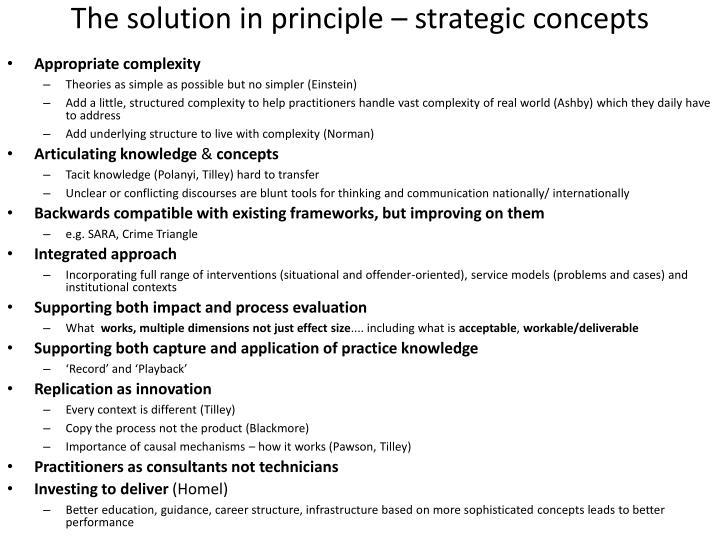The solution in principle – strategic concepts