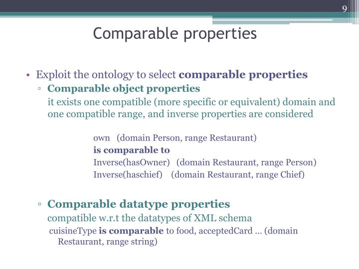 Comparable properties