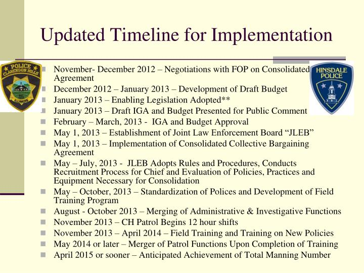 Updated Timeline for Implementation