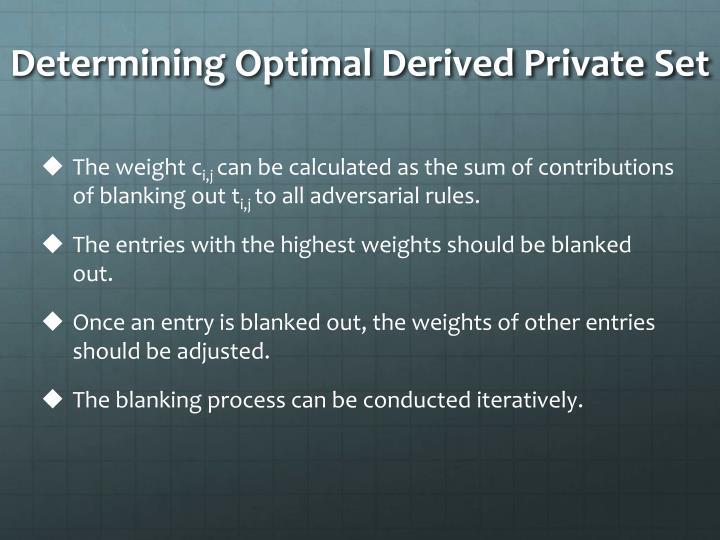 Determining Optimal Derived Private Set