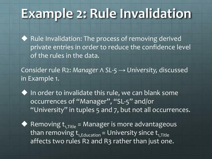 Example 2: Rule Invalidation