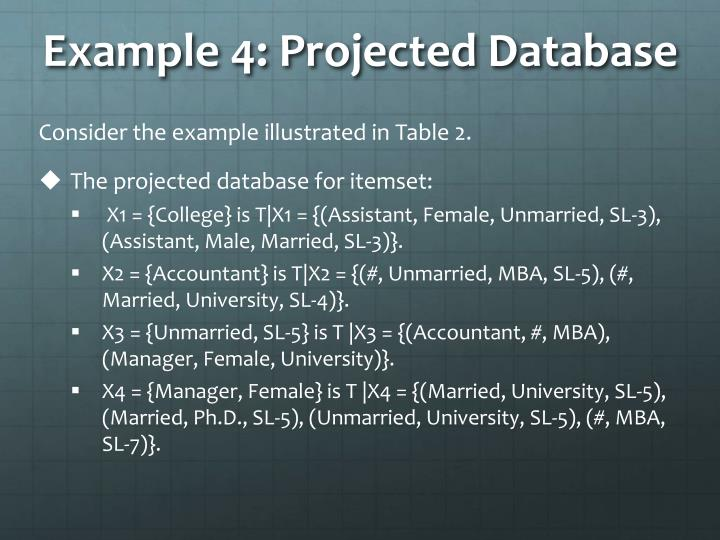 Example 4: Projected Database