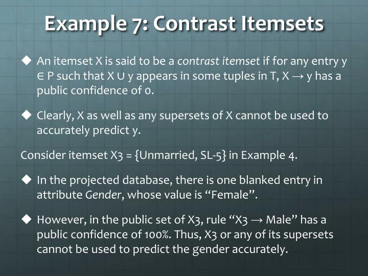 Example 7: Contrast Itemsets