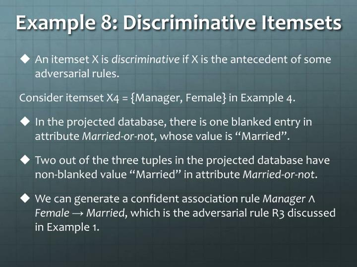 Example 8: Discriminative Itemsets