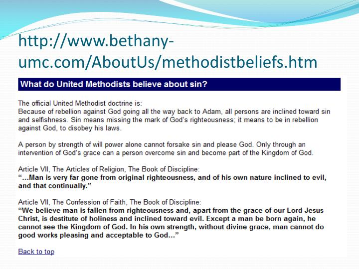 http://www.bethany-umc.com/AboutUs/methodistbeliefs.htm