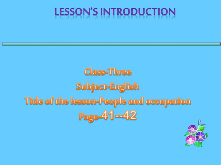 Lesson's Introduction