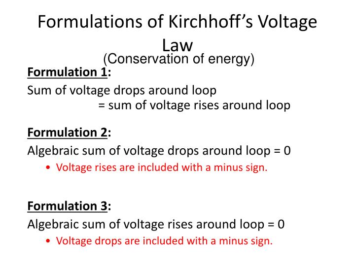 Formulations of kirchhoff s voltage law