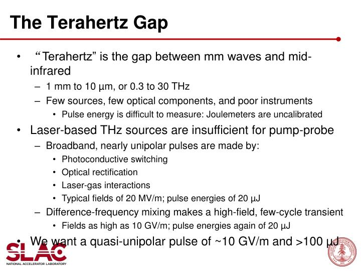 The terahertz gap