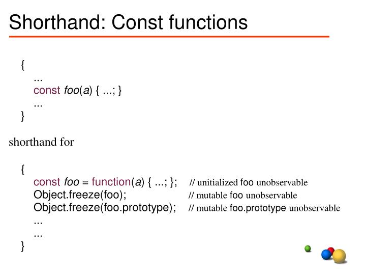 Shorthand: Const functions