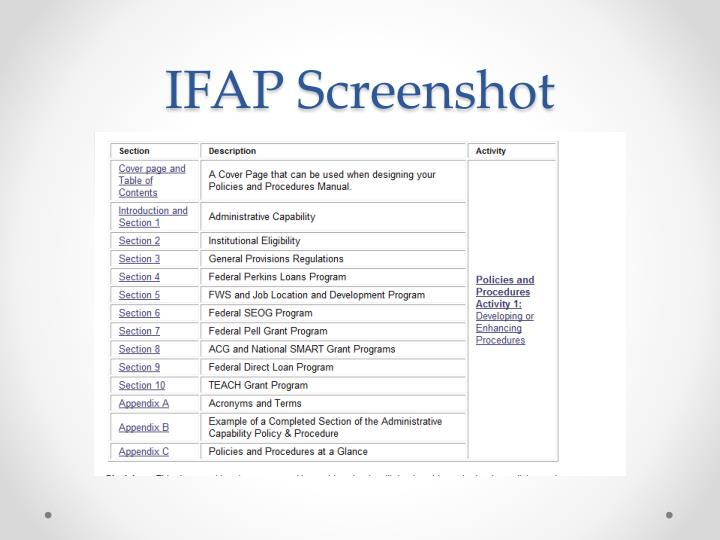 IFAP Screenshot