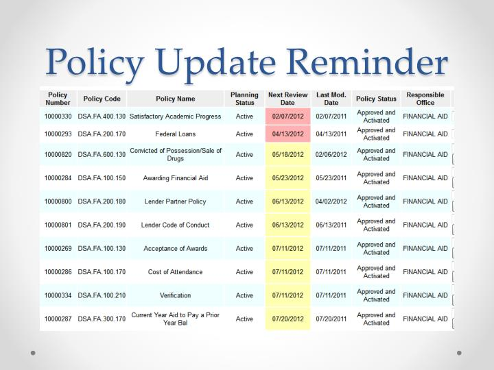 Policy Update Reminder