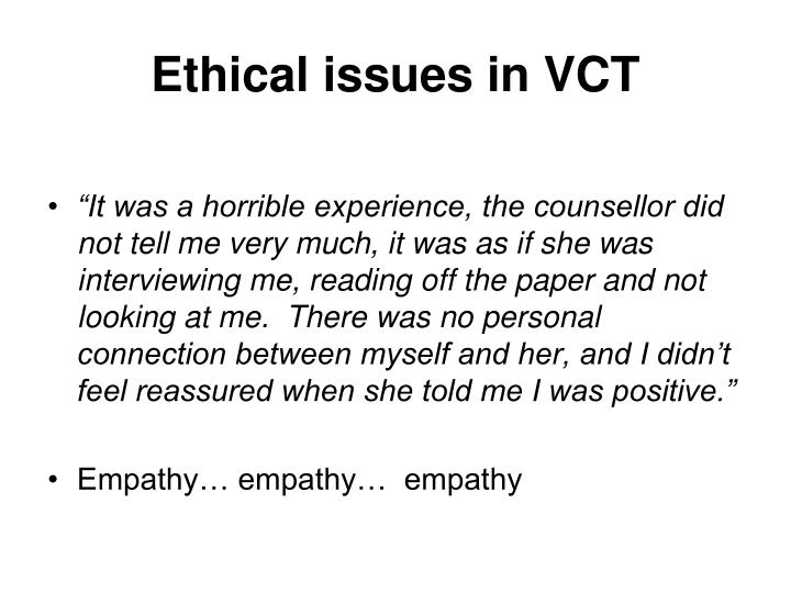 Ethical issues in VCT
