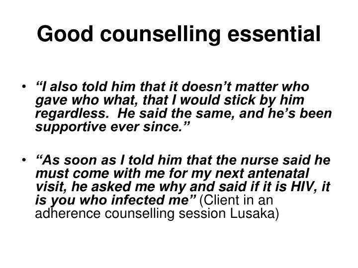 Good counselling essential